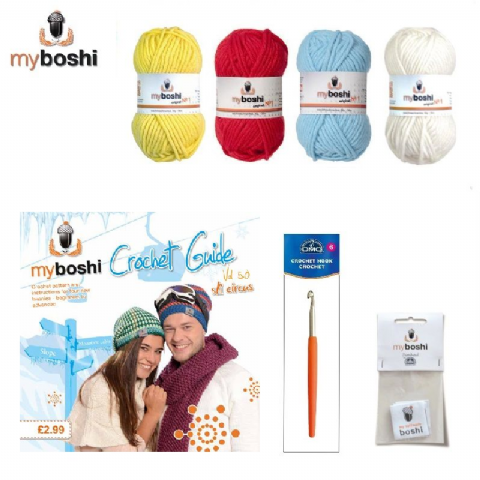 Primary - Makes 3 x Myboshi Ski Circus Beanies & Hats - Intermediate to Advanced Crochet Kit